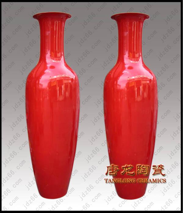中国红陶瓷大花瓶,陶瓷装饰品,开业庆典礼品花瓶,商务馈赠礼品花瓶