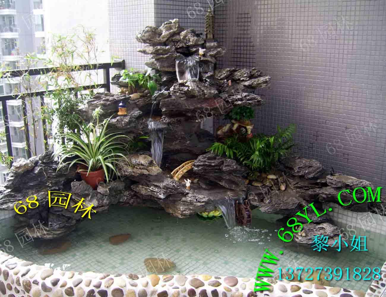花园英石假山鱼池设计