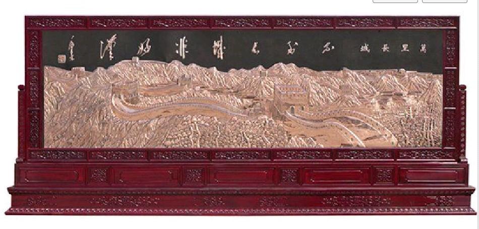 长城紫铜浮雕红木屏风3图片