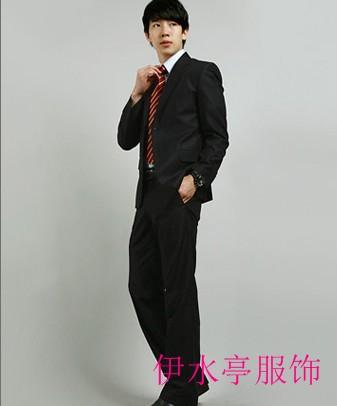 供应青岛韩版男士收腰瘦身修身西服定做