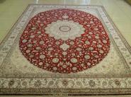 手工打结编织真丝地毯图片