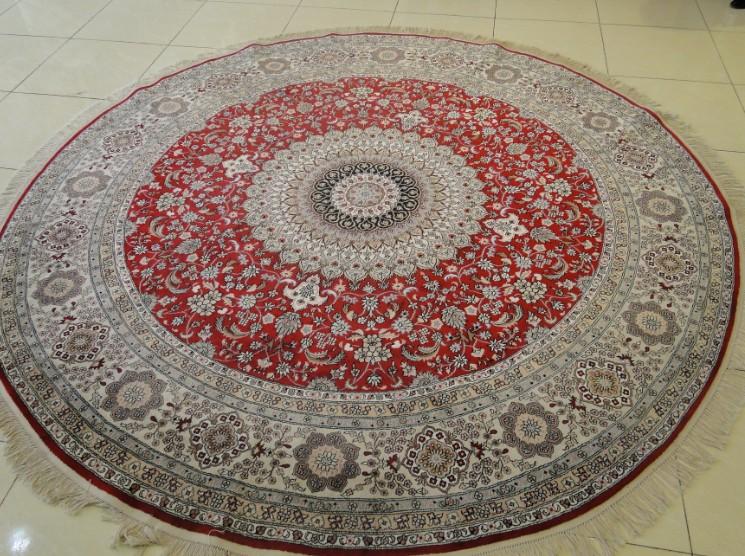 圆形地毯真丝手工地毯图片