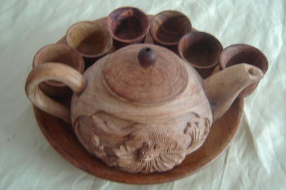 木雕-茶壶八件套图片