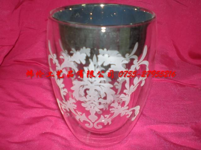 供應雙層玻璃杯內電鍍噴砂圖片