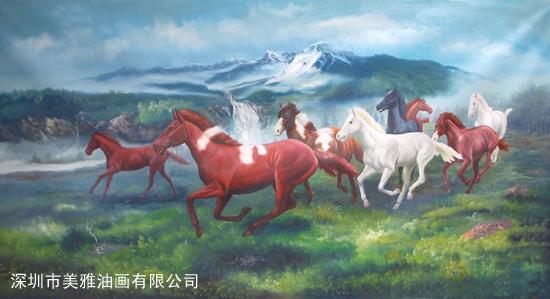 动物油画-马到成功图片