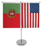 大字牌F28桌上T型伸缩不锈钢旗座图片