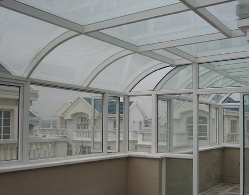 弧形阳光房隔热断桥; 弧形 钢架结构 钢化夹胶 玻璃 阳光房 断桥铝平