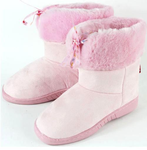 供应冬款粉色童鞋雪地靴保暖棉鞋批发