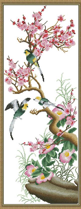 供应鸟语花香梅兰竹菊十字绣图片