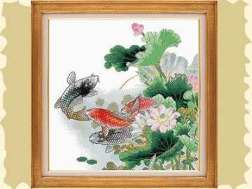 供应荷花鲤鱼图十字绣