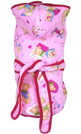 供應寵物服裝粉色可愛卡通圖案浴衣,寵物鞋子,寵物用品批發
