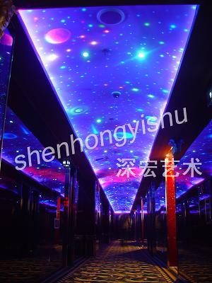酒吧ktv設計熒光壁畫雕塑圖片