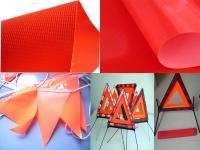 供应荧光红夹网布、PVC荧光布、三角警示牌、警示串旗