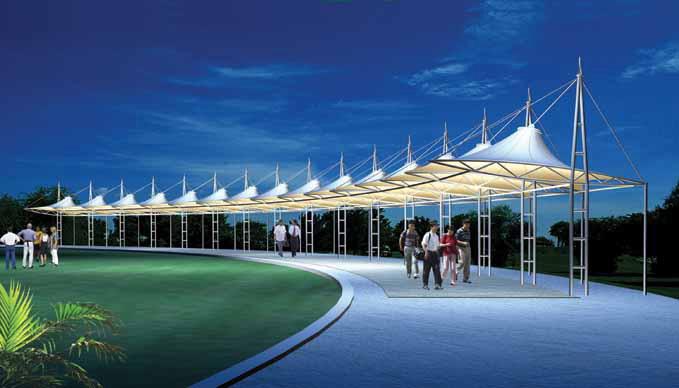 供应海口高尔夫连球场张拉膜结构