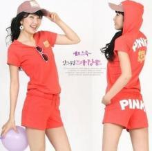 供应韩版休闲字母短裤运动套装