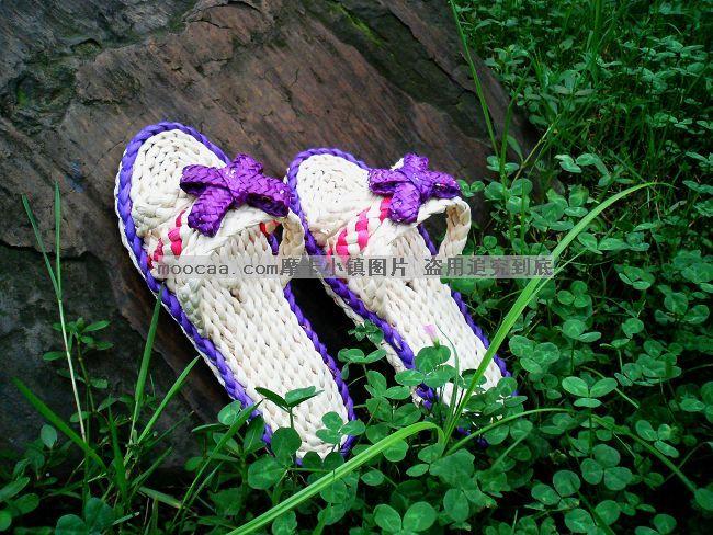 玉米草编织鞋图片