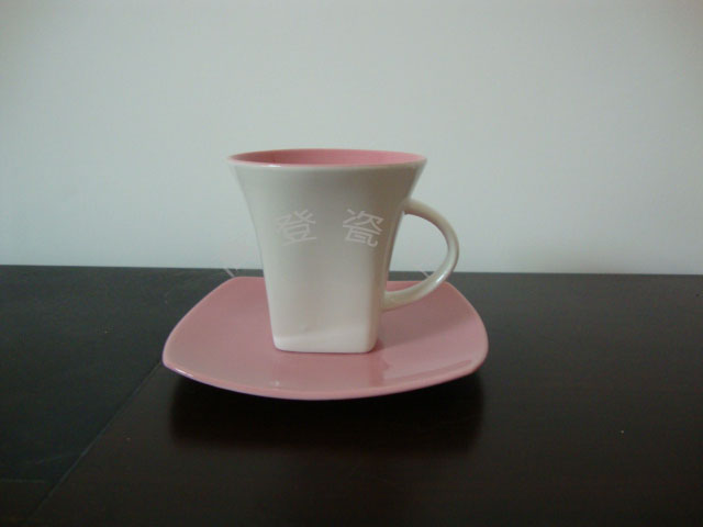 供应咖啡杯碟炻瓷色釉礼品杯促销杯广告图片