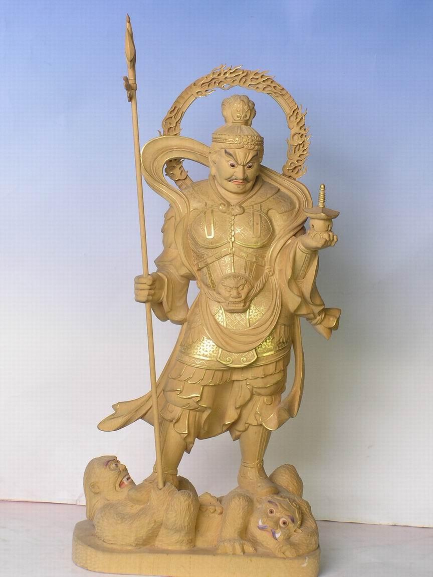 浙江 温州 供应木雕日本佛像毗沙门天