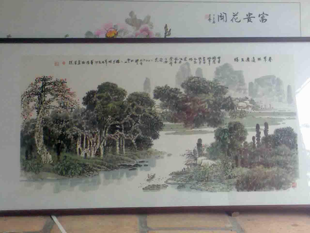 新中式山水画圆形卡座图片图片