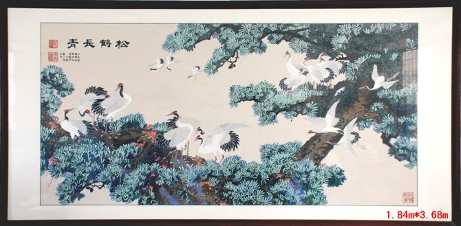 供应松鹤长青,山水、花鸟壁画批发