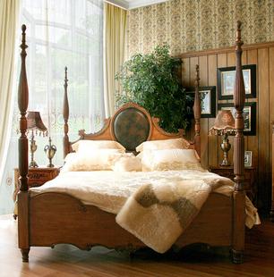欧式实木家具; 欧式美式乡村实木别墅配套品牌家具:特价欧美娜高柱床