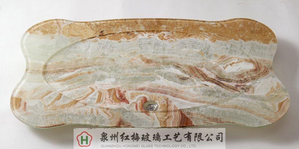 玉石复合玻璃茶盘-长方波浪型茶盘图片