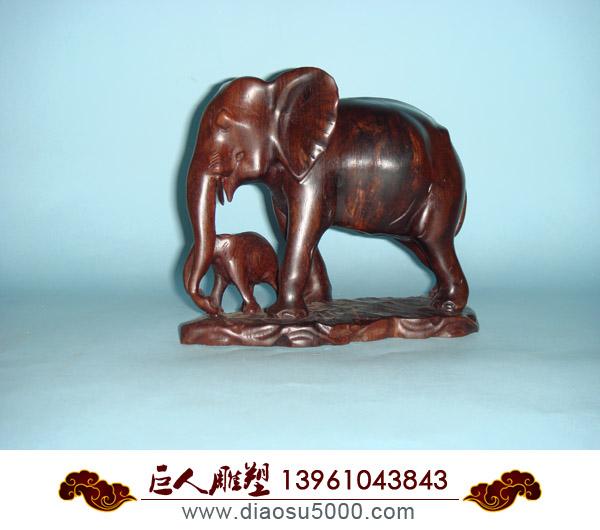 木雕大象吉祥礼品图片