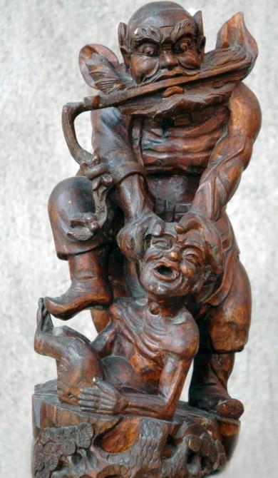 钟馗木雕佛像