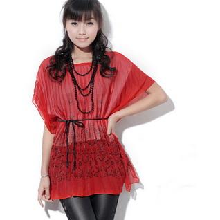 幻想国度HGE金叶子蝙蝠袖雪纺衫88044红色批发