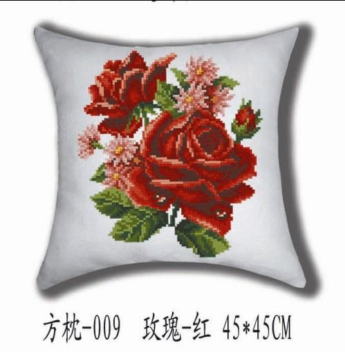 钩针玫瑰花抱枕图解