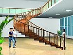 浙江实木楼梯图片