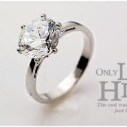 银色经典大锆石光面韩国明星戒指图片